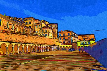 Assisi, Italy art illustration
