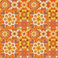 Seamless pattern on the tiles, majolica, arabic, green, orange, vector