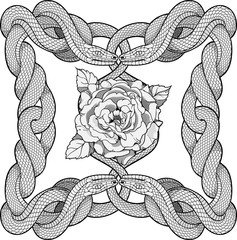 Rose in a frame made of four snakes
