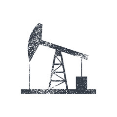 Oil derrick icon. Vintage style vector illustration.