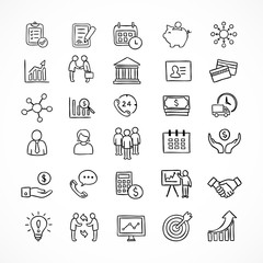 Hand drawn business and finance icons. Design elements for infographics.