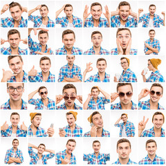 Collage of portraits of a guy expressing different emotions