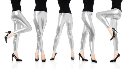Woman legs with silver leggings trousers dancing collection, clipping path