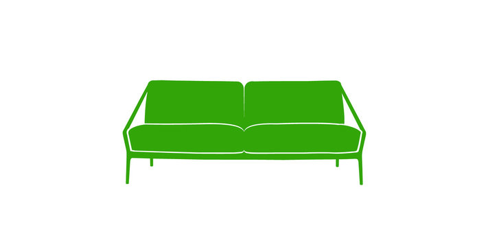 Colored sofa icon lime green