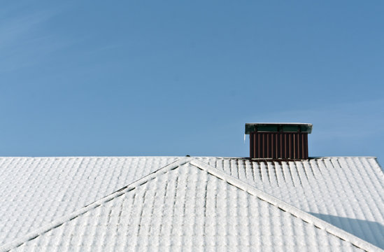 Snow on metal roof texture.