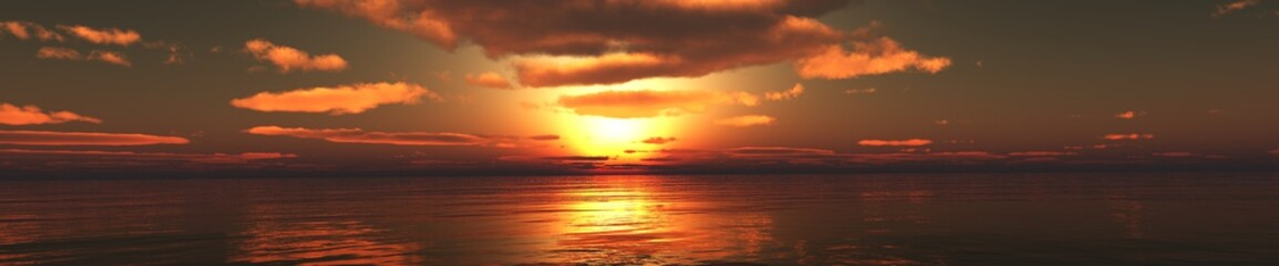 panorama of the sunset over the sea, the sea rising, the light over the sea, the sun among the clouds.