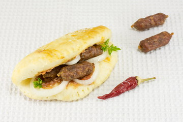 gourmet sandwich with special small sausages