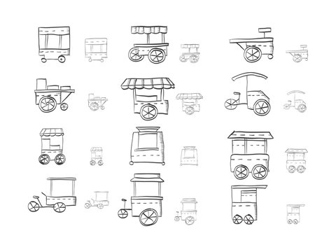 Sketch icons collection for food trolley