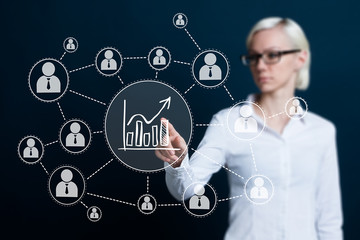 Woman with chart web diagram business icon