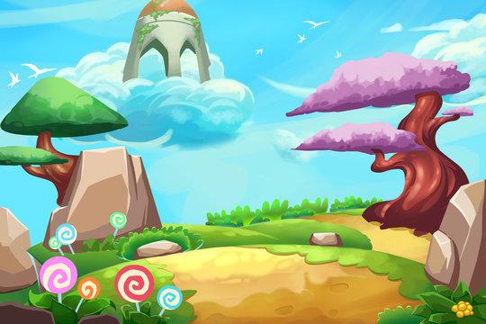 Illustration: Fantastic Forest Cartoon Land. Realistic Fantastic Cartoon Style Artwork Scene, Wallpaper, Game Story Background, Card Design