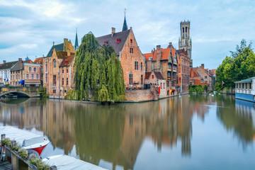 Aluminium Prints Bridges Brugge canals at sunrise