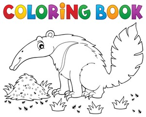Coloring book anteater theme 1