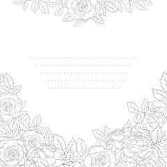 Roses. Elegance template in gray colors. Floral card in line art style