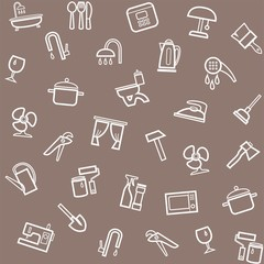 Household goods, home, background, seamless, gray-brown.