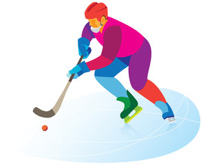Bandy.Hockey player with ball