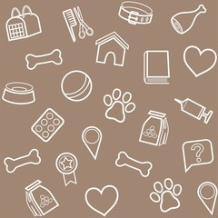 The goods for animals, background, seamless, gray-brown.