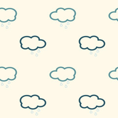 clouds in the sky with rain seamless vector abstract pattern background illustration