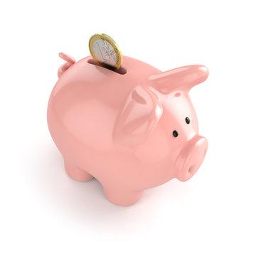 Sparschwein mit einer Euro-Münze auf weissem Hintergrund