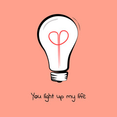 Light bulb sketch with heart. Text You light up my life. Concept of inspiration. Doodle hand drawn sign