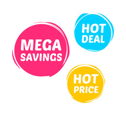 Mega Savings, Hot Deal & Hot Price Marks
