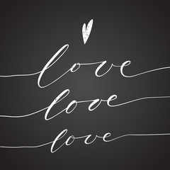 love chalk calligraphy text message black