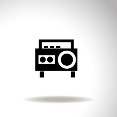 Magnetic cassette player vector icon.
