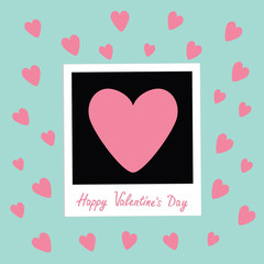 Happy Valentines Day. Love card. Instant photo in flat design style. Pink hearts. Blue background