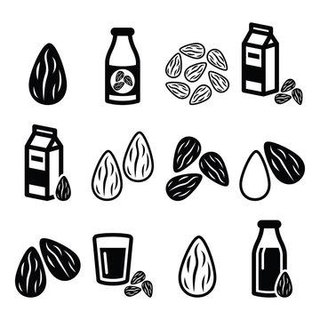Almonds, almond milk vector icons set
