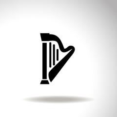 Harp vector icon.