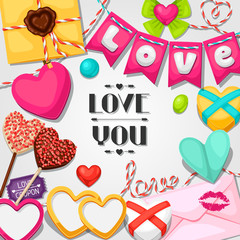 Greeting card with hearts, objects, decorations. Concept can be used for Valentines Day, wedding or love confession message