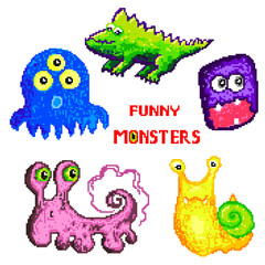 Pixel art set funny vector monsters