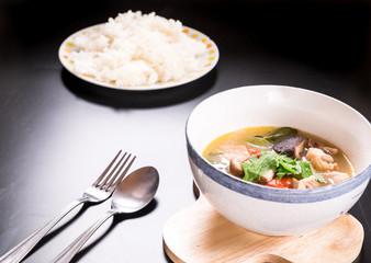 Tom Yum Gai, Spicy Chicken Soup,Thai food.