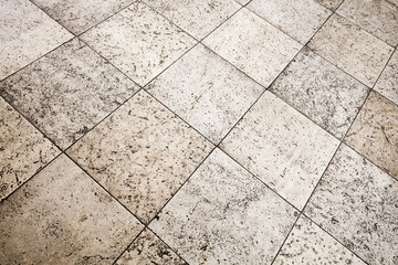 Fototapete - Old brown gray stone floor tiling texture