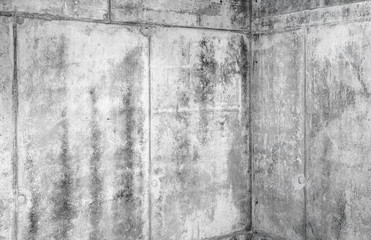 Grungy concrete interior fragment with corner