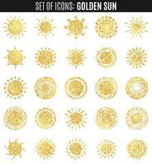 set of sun icons isolated on white background.