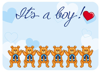 Cute color background with Teddy Bears and originally drawn artistic text