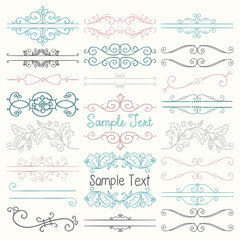 Vector Colorful Hand Drawn Dividers, Frames, Swirls