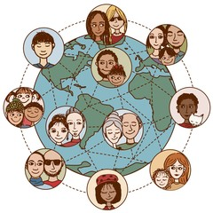 Global communications: Hand drawn people, families, couples, friends, connected world wide