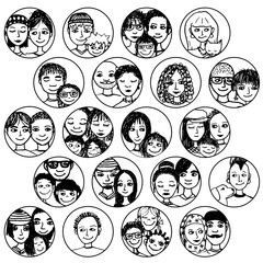 Hand drawn images of families, couples, friends, siblings, singles... multicultural, multiethnic, mixed & patchwork - #2 in black and white