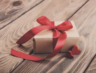 Gift box and hearts - vintage toning