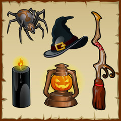 Set of tools for witches, five magic items