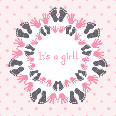 Its a girl card template. Congratulation background.