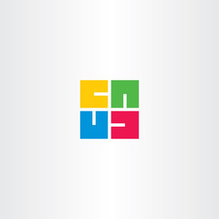 letter u square rotation logo vector