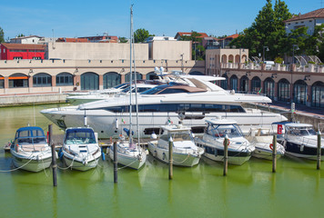 Large motor yachts in the docks.