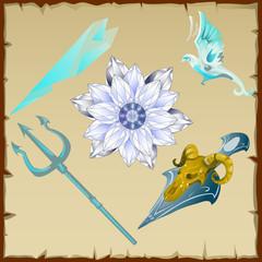 Magic and ancient symbols, trident, flower, bird