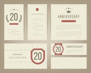 Twenty years anniversary invitation cards template. Vector illustration.