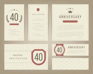 Forty years anniversary invitation cards template. Vector illustration.