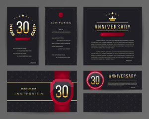 Thirty years anniversary invitation cards template. Vector illustration with black and gold elements.