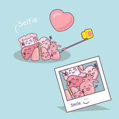 organ cartoon take selfie