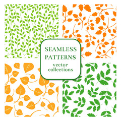 Wall Mural - Leaves and twigs seamless patterns vector set background, plant nature decoration illustration
